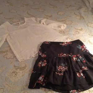LOFT skirt size 4 & PINK ROSE small blouse